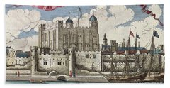 The Tower Of London Seen From The River Thames Beach Towel