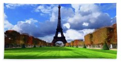 Beach Towel featuring the painting The Tower Paris by David Dehner
