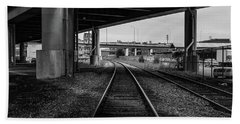 The Tracks And The Overpass Beach Towel