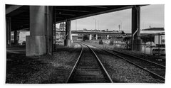 Beach Towel featuring the photograph The Tracks And The Overpass by Break The Silhouette