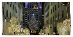 The Tree At Rockefeller Plaza Beach Towel