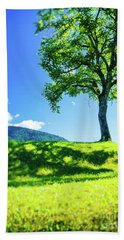 Beach Towel featuring the photograph The Tree On The Hill by Silvia Ganora