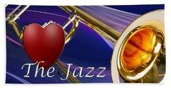 The Trombone Jazz 001 Beach Towel