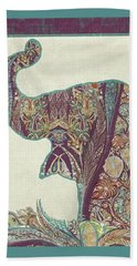Beach Sheet featuring the painting The Trumpet - Elephant Kashmir Patterned Boho Tribal by Audrey Jeanne Roberts