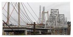 The Two Carquinez Bridges At Crockett And Vallejo California . Aka Alfred Zampa Memorial Bridge . 7d8919 Beach Sheet