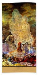 Beach Towel featuring the painting The Valley Of Sphinks by Henryk Gorecki