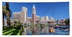 The Venetian In Front Of The Mirage Lagoon In The Afternoon Beach Towel by Aloha Art
