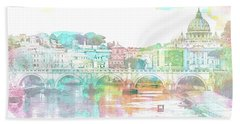 The View From Castel Sant'angelo Towards Ponte Sant'angelo, Brid Beach Towel