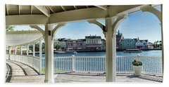 The View From The Boardwalk Gazebo At Disney World Mp Beach Towel