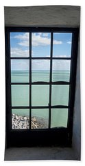 The View From The Lighthouse Window Bill Baggs Lighthouse Key Biscayne Florida Beach Towel