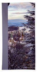 Beach Towel featuring the photograph The Village - Winter In Switzerland by Susanne Van Hulst