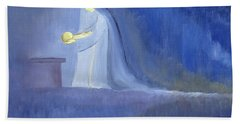 The Virgin Mary Cared For Her Child Jesus With Simplicity And Joy Beach Towel
