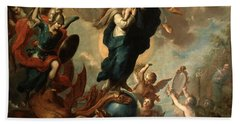 Beach Towel featuring the painting The Virgin Of The Apocalypse by Miguel Cabrera