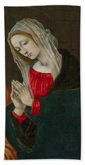 Beach Towel featuring the painting The Virgin Of The Nativity , Workshop Of Filippino Lippi by Artistic Panda