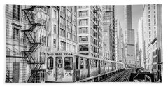 The Wabash L Train In Black And White Beach Towel