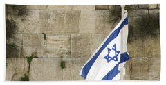 Beach Towel featuring the photograph The Wailing Wall And The Flag by Yoel Koskas