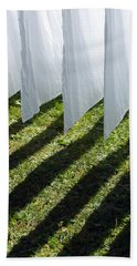 The Washing Is On The Line - Shadow Play Beach Sheet by Matthias Hauser