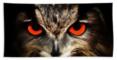 The Watcher - Owl Digital Painting Beach Towel