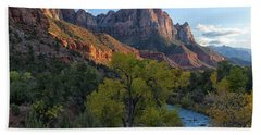 The Watchman And Virgin River Beach Sheet by Sandra Bronstein