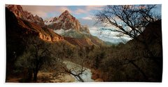 The Watchman At Sunset Beach Towel by Daniel Woodrum