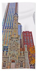 The Water Tower In Autumn Beach Towel