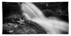Beach Towel featuring the photograph The Waterfall In Black And White  by Saija Lehtonen