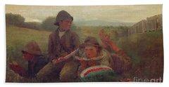 The Watermelon Boys Beach Sheet by Winslow Homer