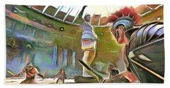 Beach Towel featuring the painting The Way We Were - Gladiators by Wayne Pascall