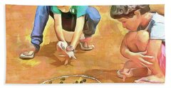 Beach Towel featuring the painting The Way We Were - Pitching Marbles by Wayne Pascall