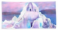 Greece White Church Of Mykonos Beach Towel