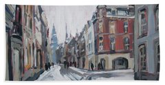 The White Grand Canal Street Maastricht Beach Towel by Nop Briex
