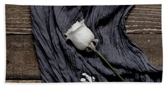 Beach Towel featuring the photograph The White Rose by Kim Hojnacki