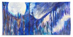 Beach Towel featuring the painting The Wind Blows A Kiss To The Moon by Seth Weaver