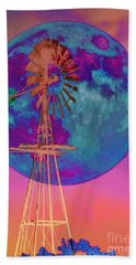 The Windmill And Moon In A Sherbet Sky Beach Towel by Toma Caul