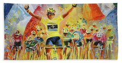 The Winner Of The Tour De France Beach Towel
