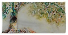 Beach Towel featuring the painting The Wisdom Tree by Joanne Smoley