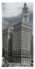 Beach Sheet featuring the photograph The Wrigley Building by Alan Toepfer