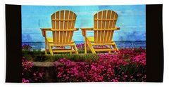 The Yellow Chairs By The Sea Beach Sheet by Thom Zehrfeld