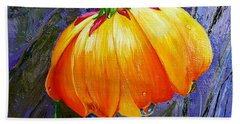The Yellow Flower Beach Towel by Janet Garcia