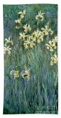 The Yellow Irises Beach Towel by Claude Monet