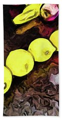The Yellow Lemons In A Row And The Pink Apple Beach Sheet