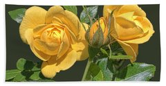 Beach Towel featuring the digital art The Yellow Rose Family by Daniel Hebard