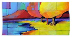 Beach Towel featuring the painting The Yellow Tree by Jodie Marie Anne Richardson Traugott          aka jm-ART