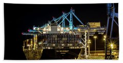 Beach Towel featuring the photograph The Ym Movement Panama Unloading In The Port Of Tacoma by Rob Green