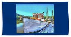 Thee Old Dragger Boat Beach Towel by Thom Zehrfeld