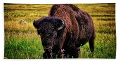 Beach Sheet featuring the photograph Theodore Roosevelt National Park 009 - Buffalo by George Bostian