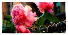 There Is A Rose In Spanish Harlem Beach Towel by Miriam Danar