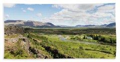 Thingvellir National Park In Iceland Beach Sheet