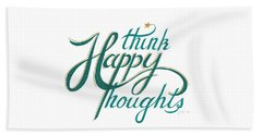 Beach Sheet featuring the drawing Think Happy Thoughts by Cindy Garber Iverson