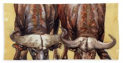 Beach Towel featuring the painting Thirsty Buffalo  by Margaret Stockdale
